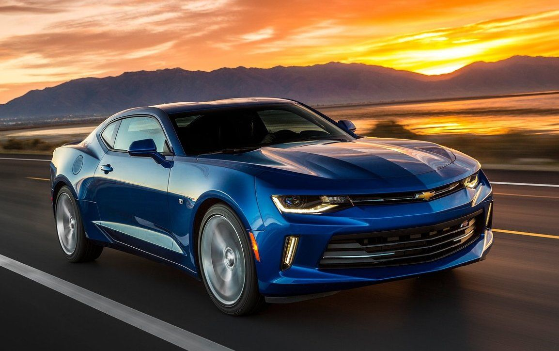 2017 Chevrolet Camaro Front View Blue Color Headlights And Grille