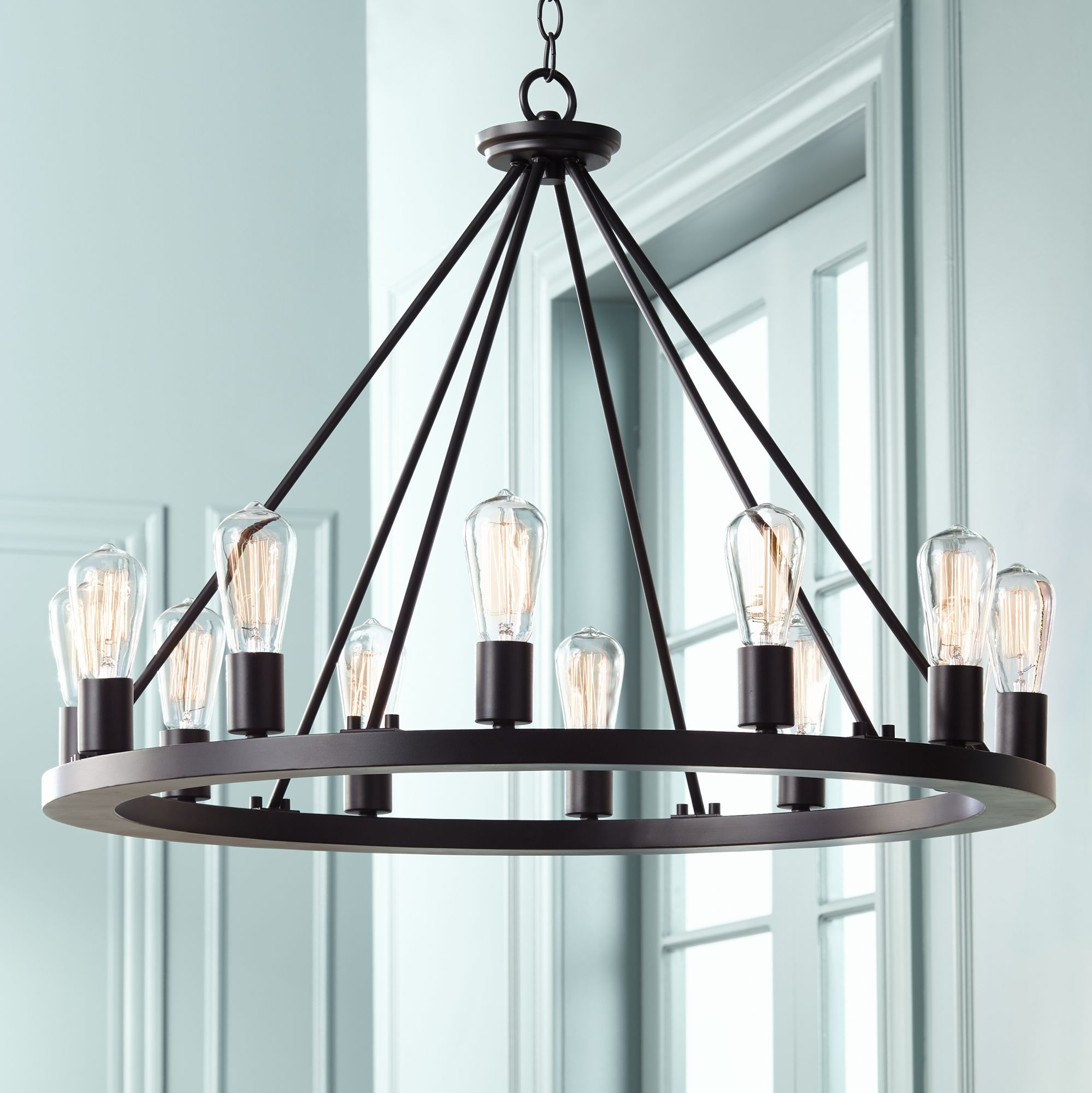 Franklin Iron Works Lacey Round Black 30 Inch W Chandelier Euw7307 Euro Style Ligh Dining Room Chandelier Kitchen Lighting Over Table Living Room Lighting