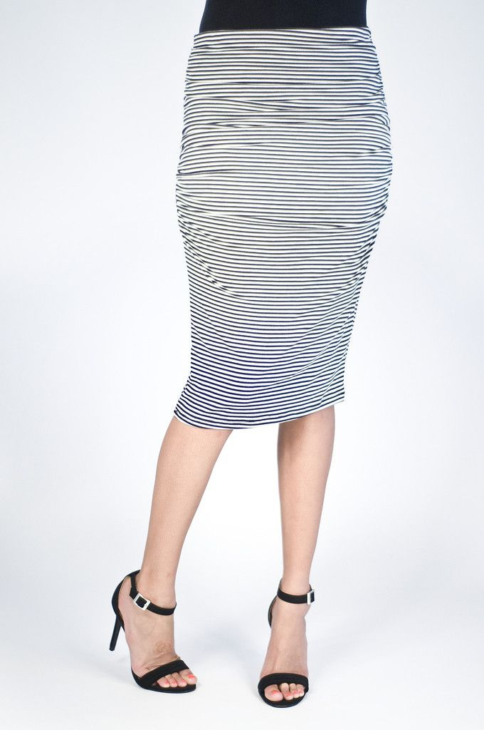 Navy and White Stripe Pencil Skirt