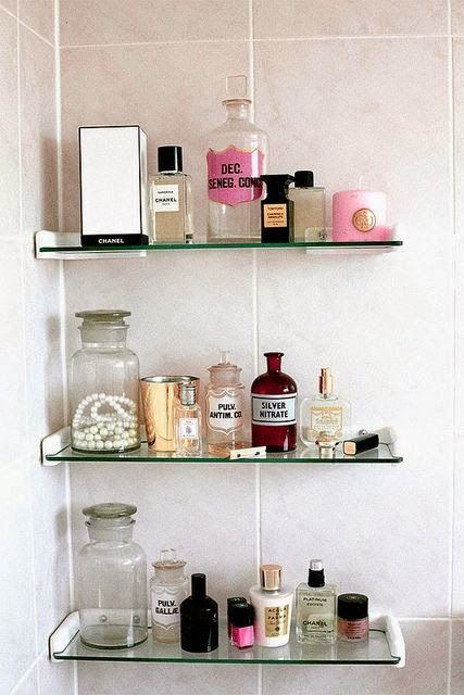 Oficina Chic Dicas De Organizacao Perfumes Schwimmendes Regal Glasregal Schwimmende Regal Dekor