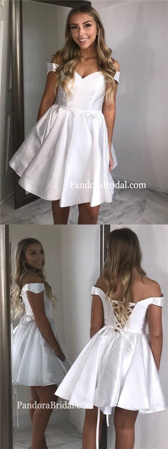 Simple white off shoulder lace up aline short homecoming dresses