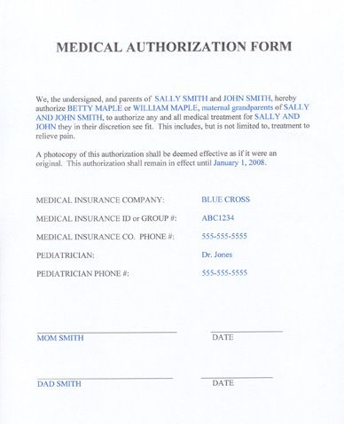 Momready  Templates  Medical Authorization Form  Parenting