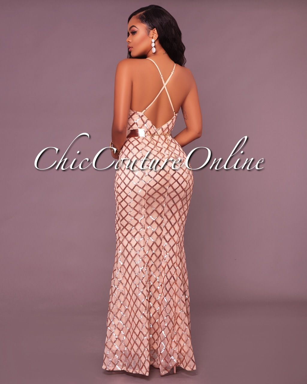 Bariano Nude Rose Gold Sequins CrissCross Maxi Dress