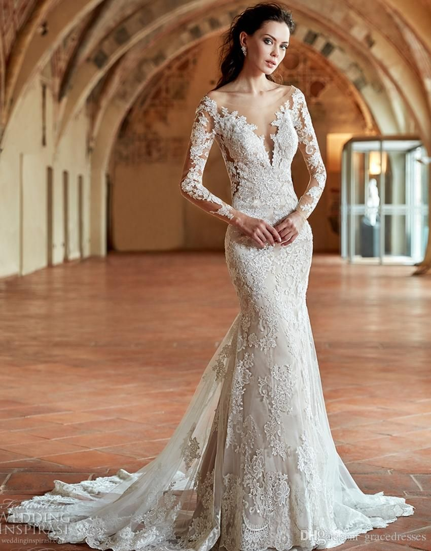 2017 Bridal Gown Long Sleeves Off The Shoulder Deep Plunging V Neck Gorgeous Elegant Lace Fit And Flare Wed Wedding Dresses Wedding Dresses 2017 Bridal Dresses