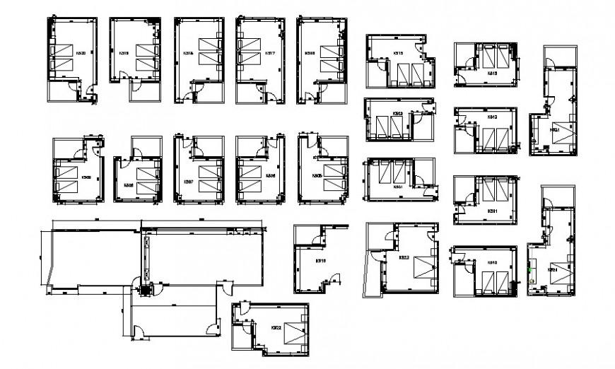 Hotel bedroom layout plan in AutoCAD file. Bedroom