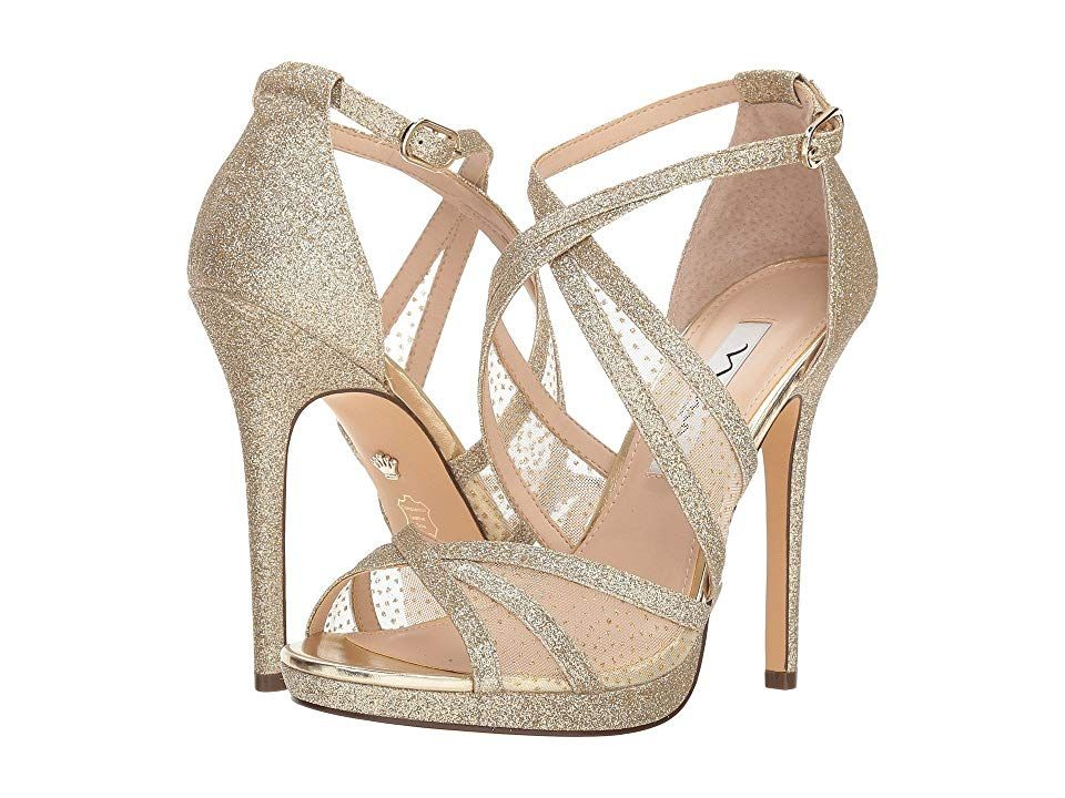 c4c6cc78147c Nina Fenna (Platino Baby Glitter Gold Snow Dot Mesh) High Heels. Be the  belle of the night in these Nina Fenna pumps. Heeled sandals feature a  glittered ...
