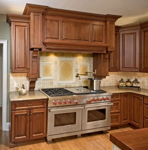 European Traditional Kitchen in Doylestown, PA - with a Wolf Range and Rohl pot filler. Done by Hometech Renovations