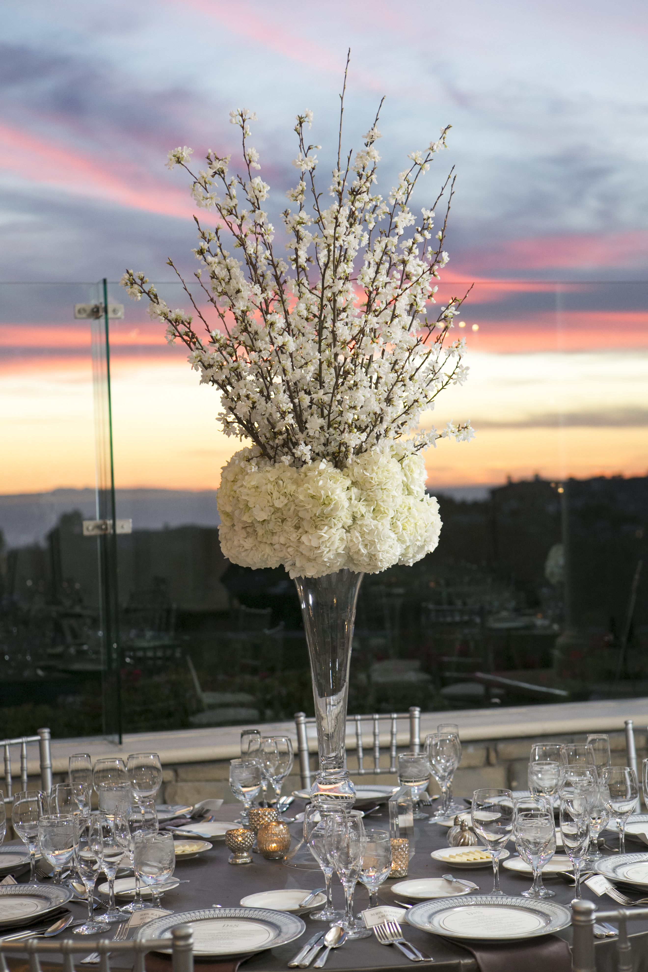 Cherry blossom and hydrangea tall centerpiece floral