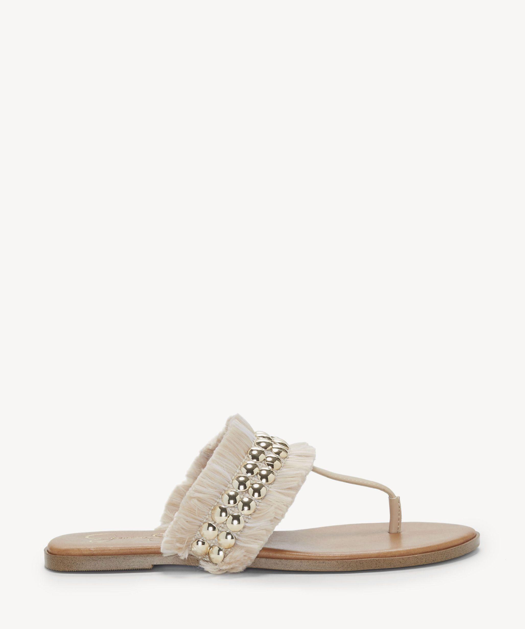 965b98856ce Jessica Simpson Crespo Fringe Flats Sandals Natural Sand Dune