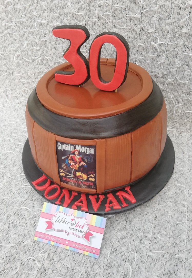 Captain barrel cake for 30th birthday Barrel cake