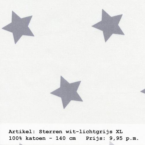 Gordijnstof met sterren wit en grijs uit de collectie \'sterren en ...