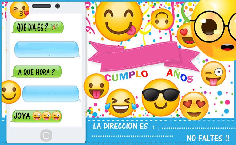 Invitacion Tarjetita Candy Bar Emoji Kit Imprimible