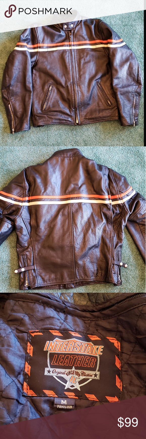 Interstate Leather Biker Jacket Sz Medium Leather Biker Jacket Biker Jacket Leather [ 1740 x 580 Pixel ]