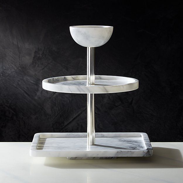 3 Tier Marble Party Tower Cb2 Canada In 2020 Marble Party Jennifer Fisher Coffee Table Cover