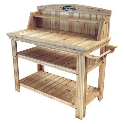Cedar Rectangular Potting Bench Brown Suncast Potting Table Wood Storage Sheds Potting Bench