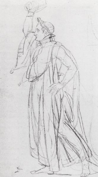 Etude pour Napoléon se couronnant by Jacques-Louis David