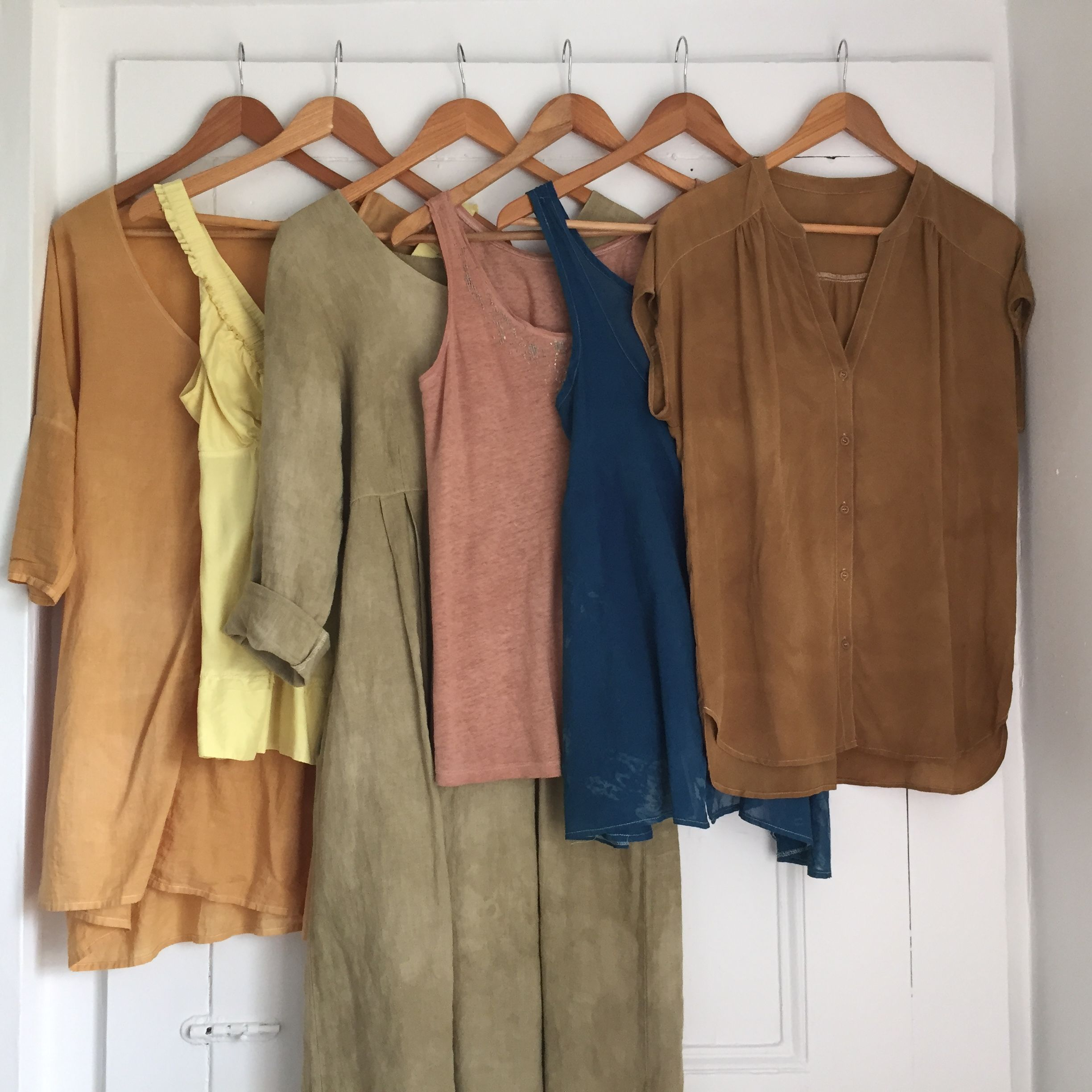 9ab9770c97e My natural dye wardrobe. Left to right  Onion skins on cotton  Queen Anne s  lace on silk  sumac leaves with iron modifier on linen  avocado skins and  pits ...