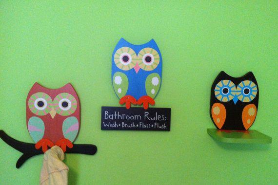 Owl Bathroom Decor Towel Rack