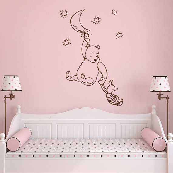 Classic Winnie The Pooh Wall Decal Winnie The Pooh And Piglet Vinyl Wall Decal Kids Winnie The Pooh Nurs Winnie The Pooh Nursery Kids Wall Decals Baby Decals