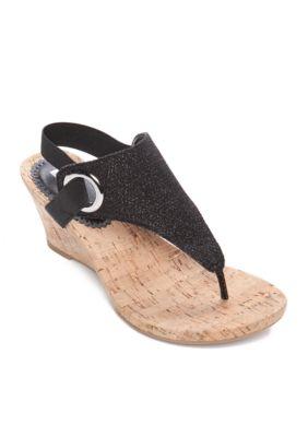 White Mountain Aida Wedge Sandals Wedge Sandals Black