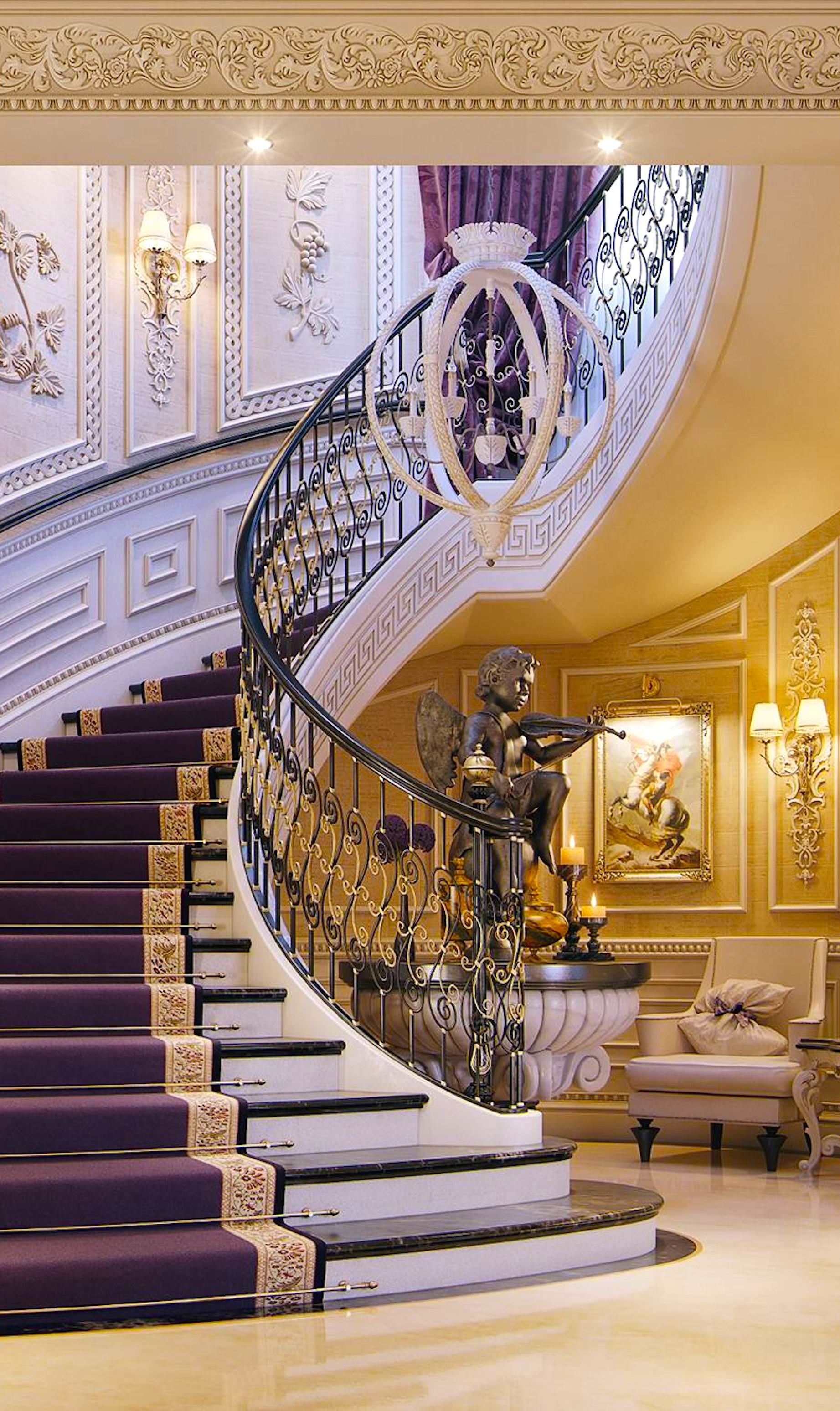 Love the use of color gold and purple always work for Luxury staircases