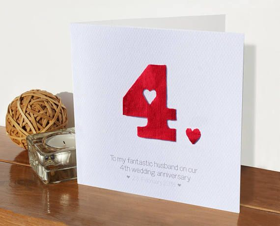 linen 4th wedding personalised anniversary card 4 years married