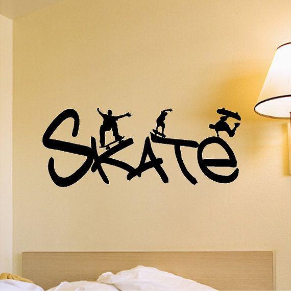 Skateboard Wall Decal Removable Skateboarder Wall Sticker ...