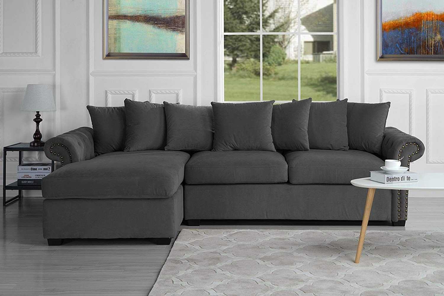 Amazon Com Modern Large Tufted Velvet Sectional Sofa Scroll Arm L Shape Couch Dark Grey Kitchen Dini L Shaped Couch L Shaped Sofa Fabric Sectional Sofas