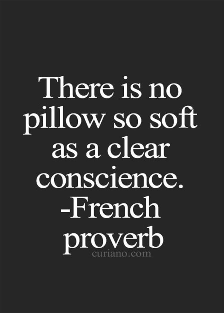 "Words Of Wisdom Quotes There Is No Pillow So Soft As A Clear Conscience.""  French"