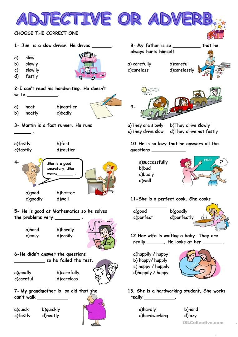 ADJECTIVE or ADVERB worksheet - Free ESL printable worksheets made by  teachers   English language teaching [ 1079 x 763 Pixel ]