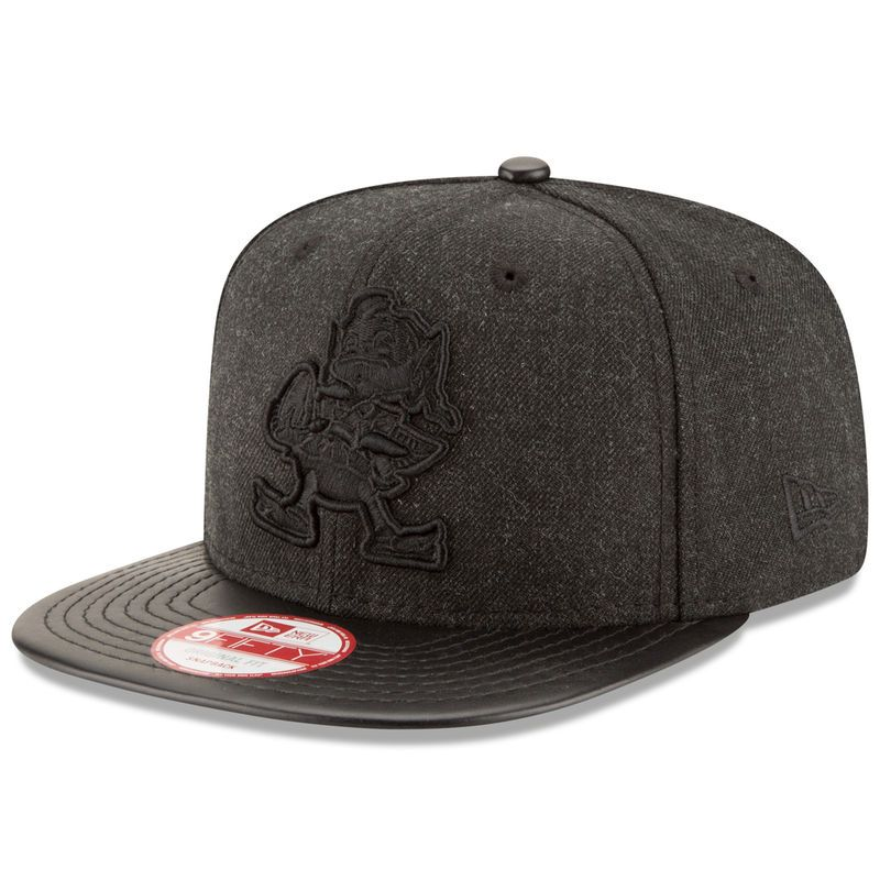 new concept 474f4 520c2 ... official store cleveland browns new era leather match original fit  9fifty snapback adjustable hat heathered black