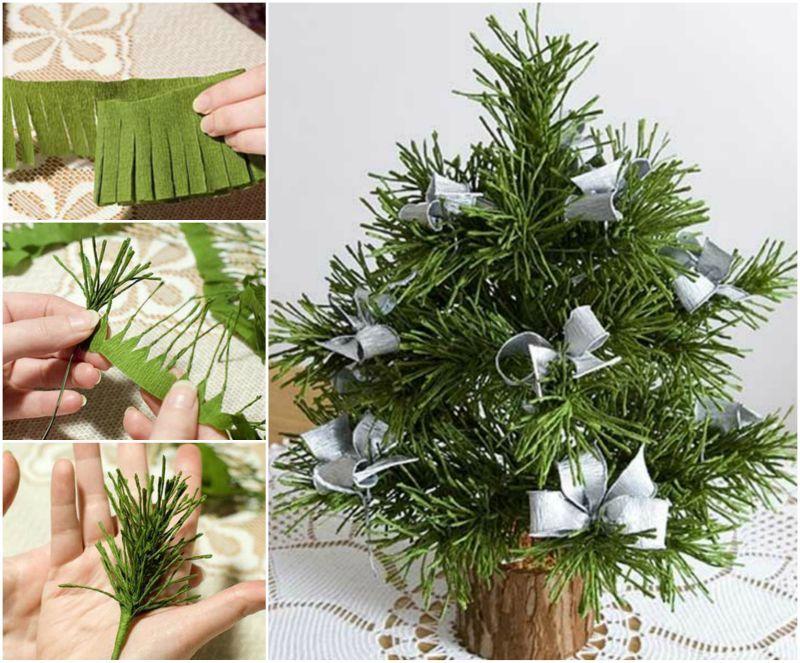 Diy Mini Crepe Paper Christmas Tree Diy Paper Christmas Tree Paper Christmas Tree Diy Christmas Tree