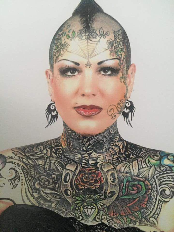 Beautiful women   Full body tattoo, Head tattoos