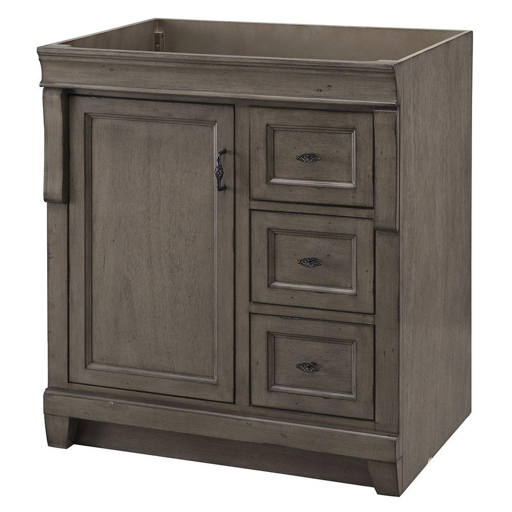 Home Decorators Collection Naples 30 In W Bath Vanity Cabinet Only In Distressed Grey With Right Hand Drawers Nadga3021d The Home Depot Vanity Cabinet Bath Vanities Bathroom Vanities Without Tops