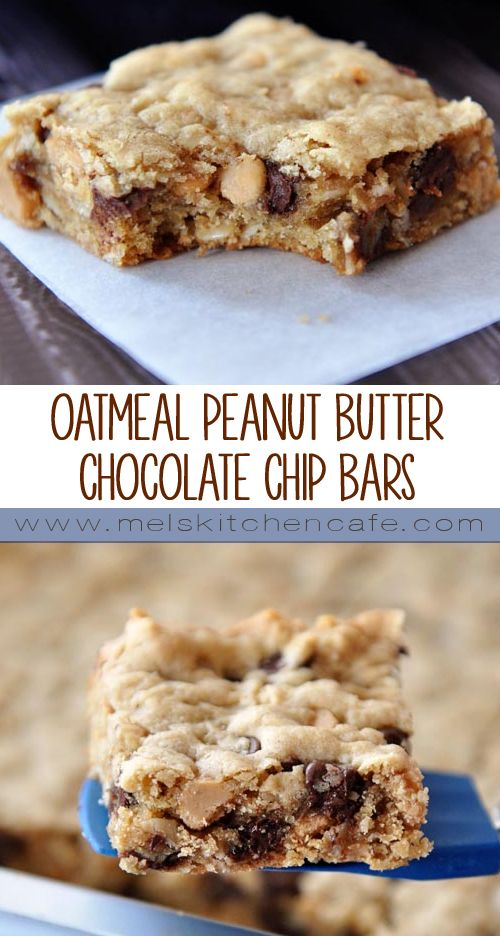 These delicious oatmeal peanut butter chocolate chip bars are a cinch to throw together.