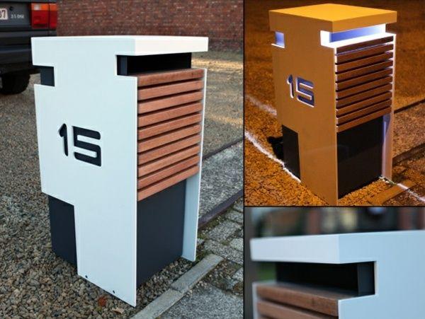 briefkasten edelstahl holz integrierte beleuchtung wohnen pinterest briefkasten. Black Bedroom Furniture Sets. Home Design Ideas