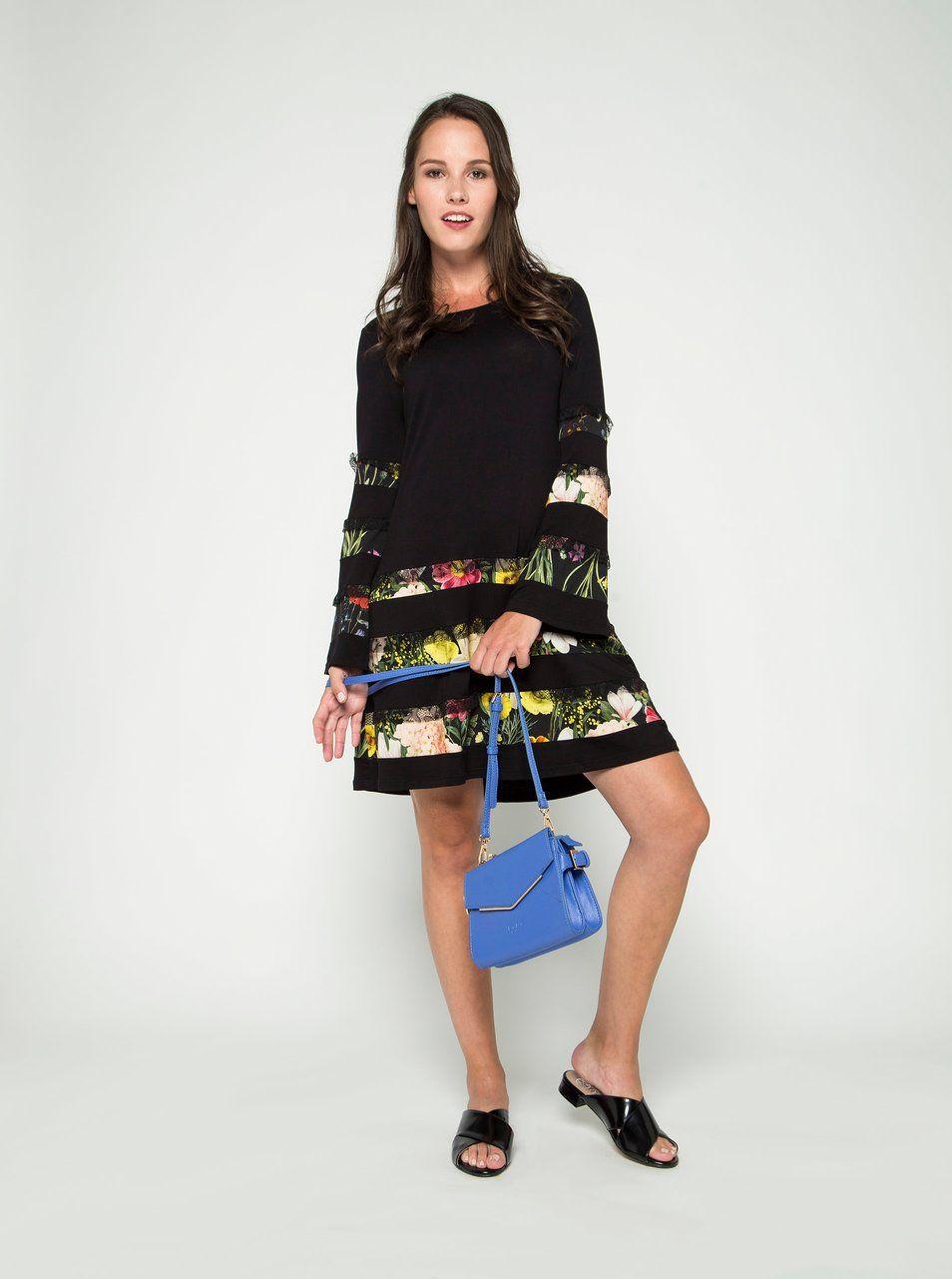 d9806216e15a Černé šaty s krajkovými a květovanými detaily Desigual Paloma ...