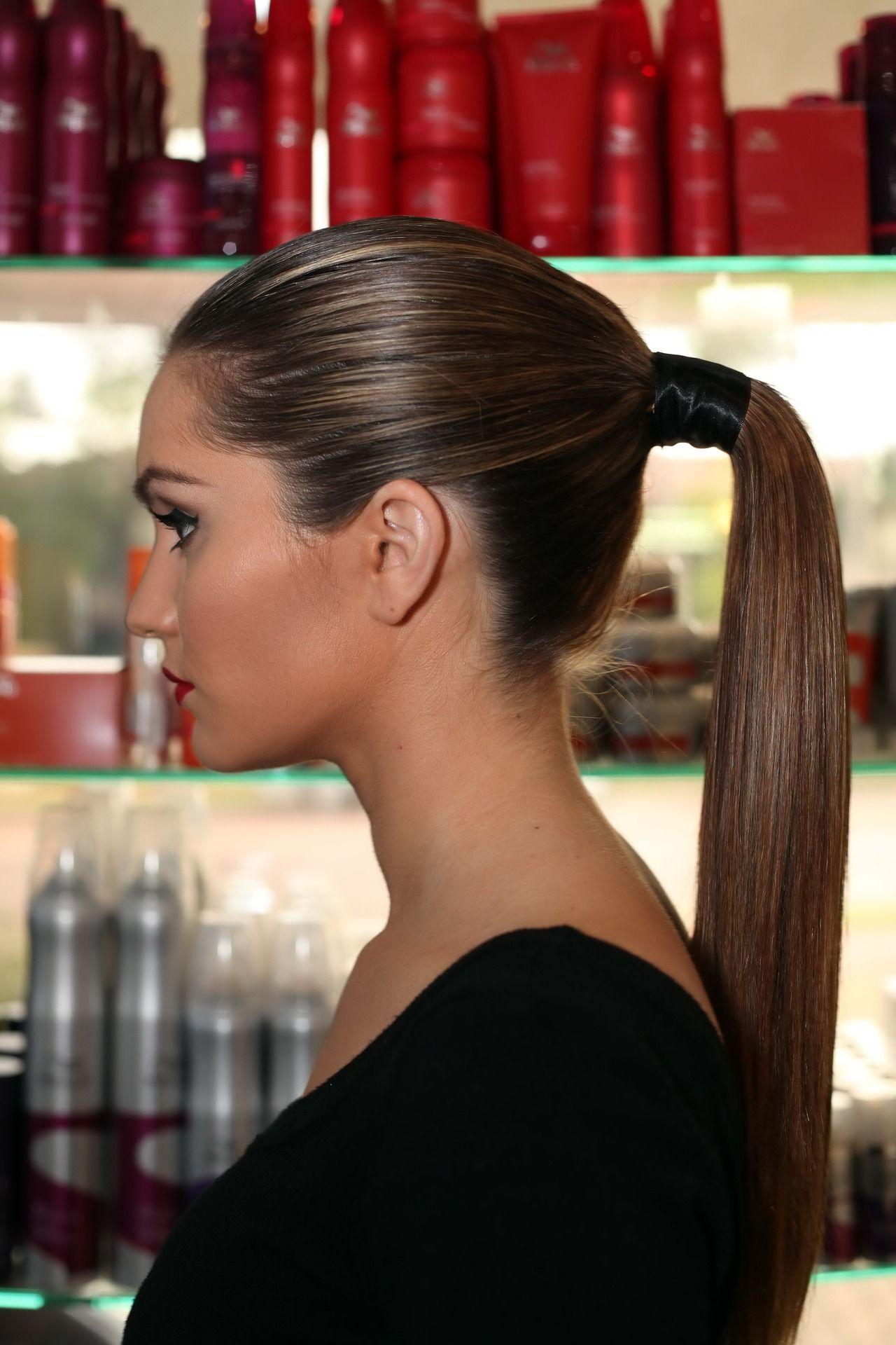 Sleek pony via wella professionals cheveux pinterest
