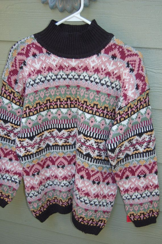 Vintage 80s Forenza Limited Nordic Fair Isle Tribal Sweater Size ...