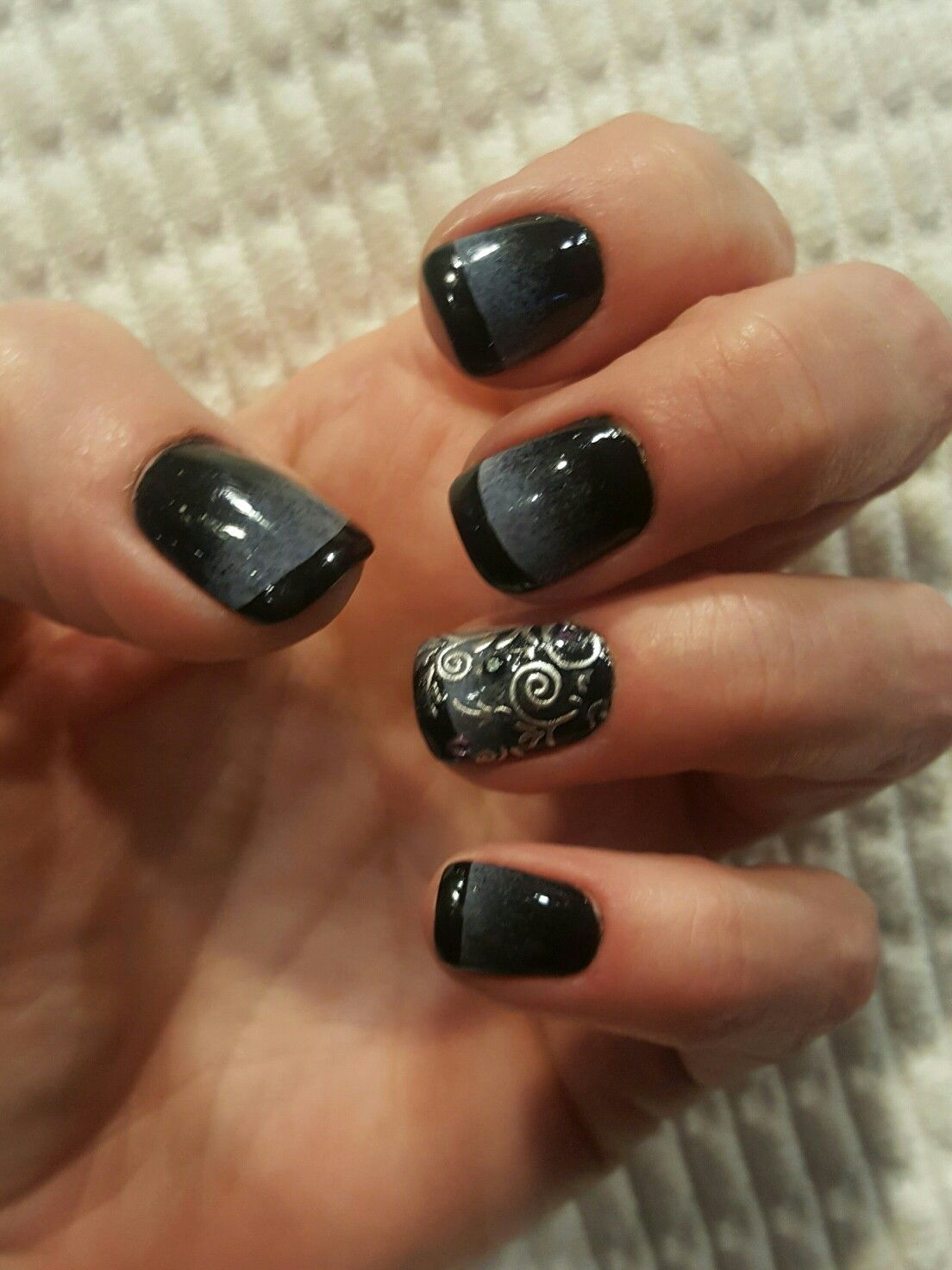 black french with black and gray ombre | nail art | pinterest