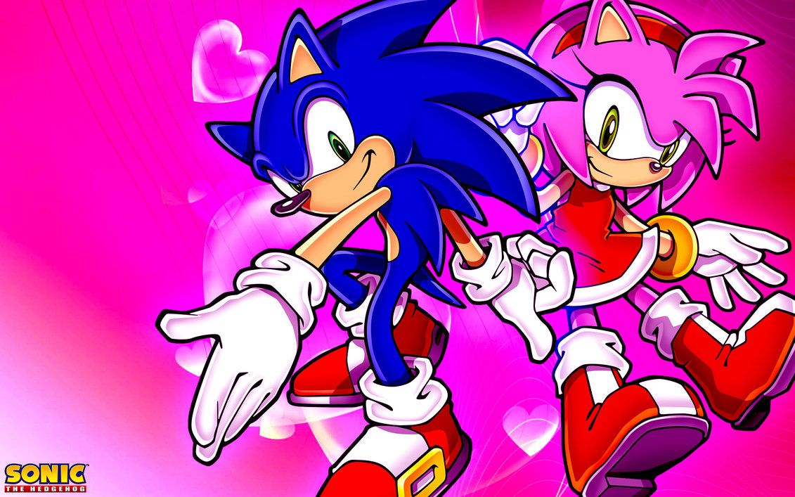 Sonic And Amy Wallpaper by SonicTheHedgehogBG on