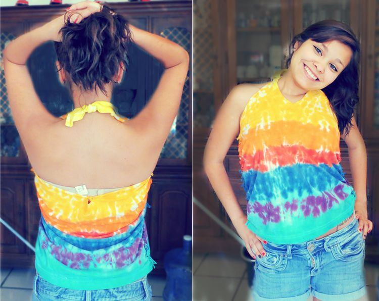 Tie-dye halter top with cut sides (: