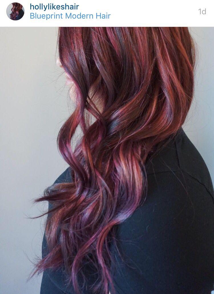 Violet Fuchsia Swirl Balayage By Holly At Blueprint Modern Hair In Portland Or Purple Hair Modern Hairstyles Hair Long Hair Styles