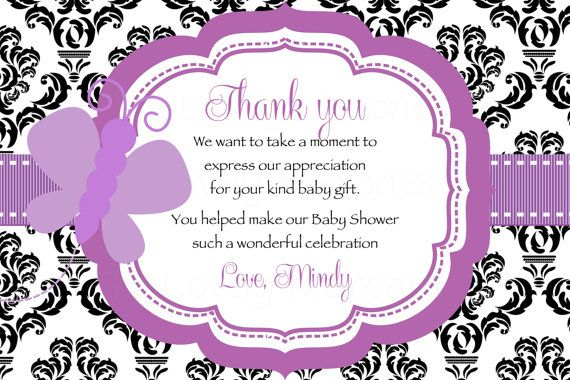 Damask Purple Butterfly Baby Shower Thank You Card Printable File