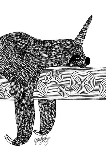 Artaday Colouring Page The Mighty Napping Slothicorn Colouring Pages Color Coloring Pages