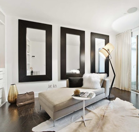 Accent Molding On Walls | Three Large Mirrors On Wall