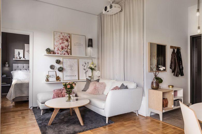 36 Sqm Studio Apartment Feminine Apartment Dream Decor Small Room Design