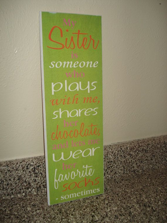 Sister Quote Painted Green Orange Pink Sign Board Plaque Girl Wall ...
