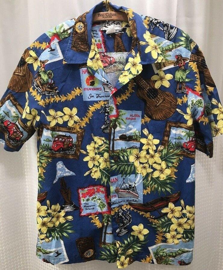 3986d100 Vtg Aloha Howie Hawaiian Shirt Mens Medium San Francisco Tiki Ukelele Hula  Girl #Howie #Hawaiian
