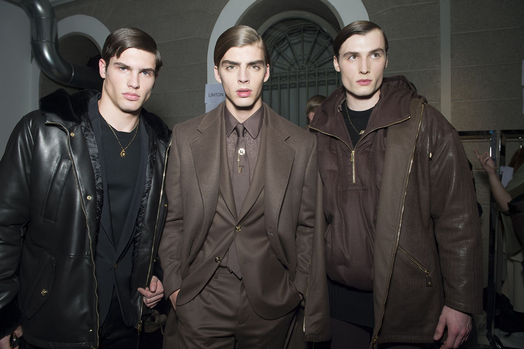 Backstage at the #Versace Men's Fall/Winter 2015-16 fashion show. #VersaceMenswear